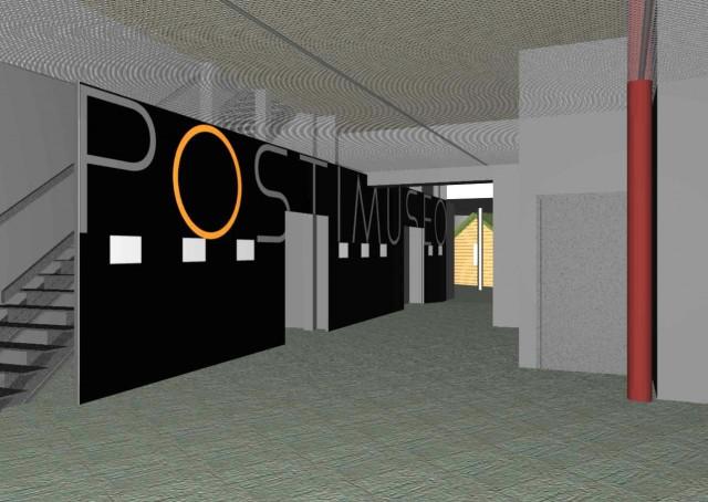 Jarmo Niinimäen laatima 3D-kuva ja suunnitelma uuden Postimuseon sisäänkäynnistä. Museon ovet avautuvat Vapriikissa 6.9.2014 klo 10.00.